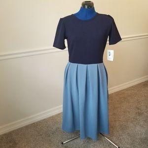 NEW Lularoe Amelia Color Block Navy Blue Dress L